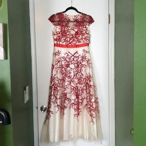 Dresses & Skirts - Red Patterned Tea Length Dress with Sheer Overlay
